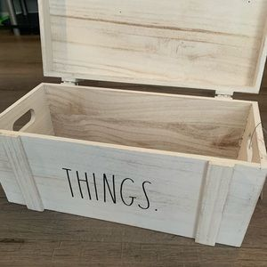 NWT- Rae Dunn Wood Storage Trunk Painted in White